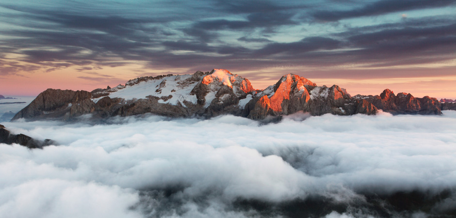 Beautiful spring landscape in the mountains. Sunset - Italy Dolo